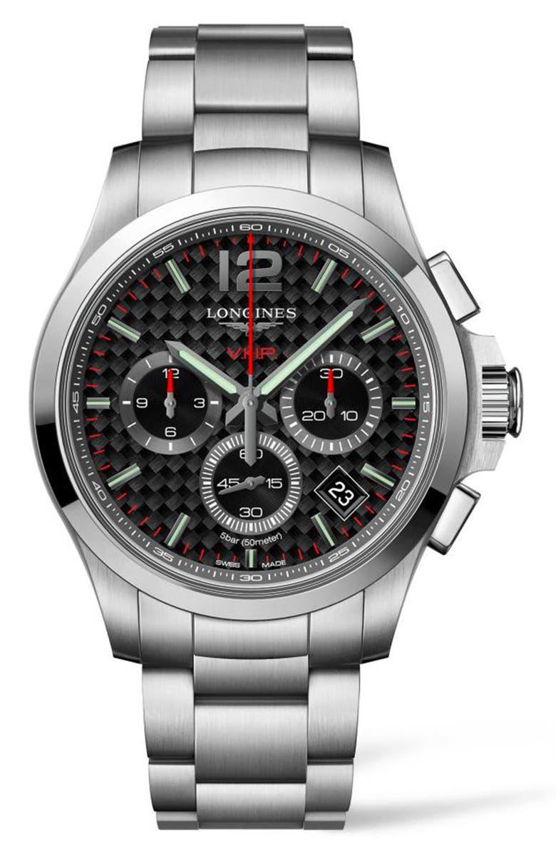 LONGINES Conquest V.H.P. Bracelet Watch, 41mm, Main, color, SILVER/ CARBON FIBER/ SILVER