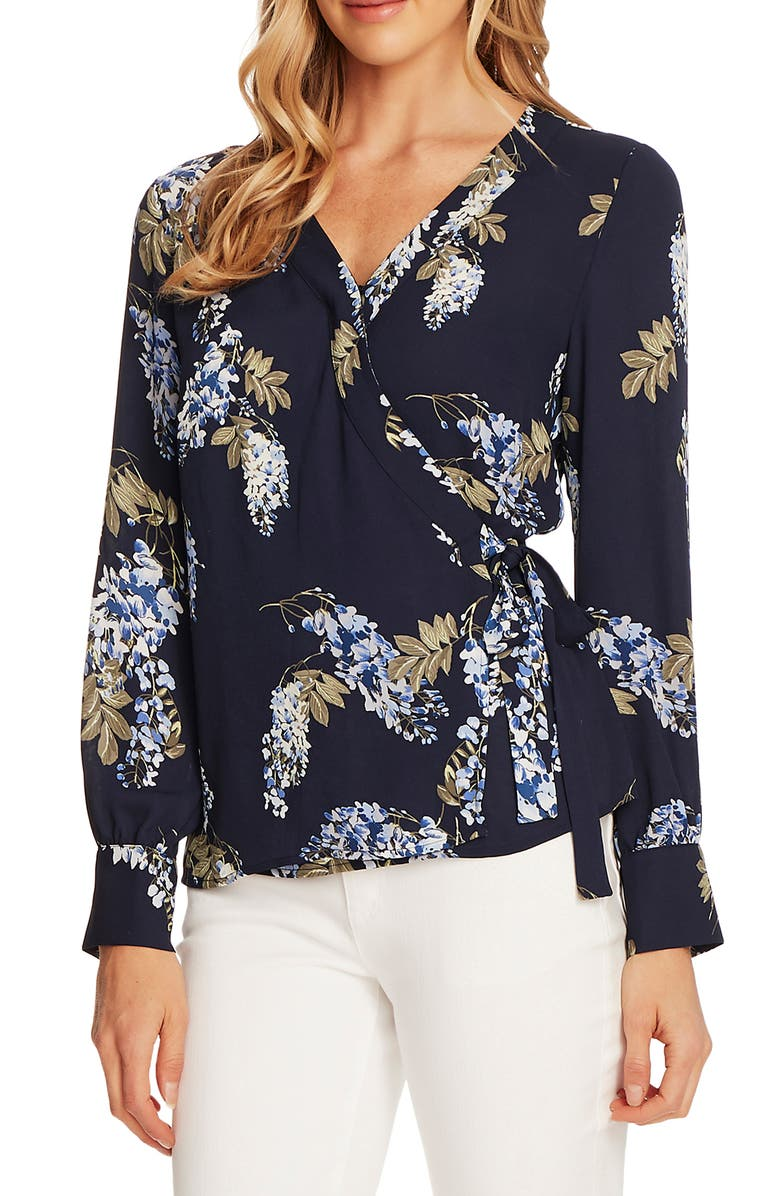 VINCE CAMUTO Weeping Willows Wrap Blouse, Main, color, NIGHT NAVY