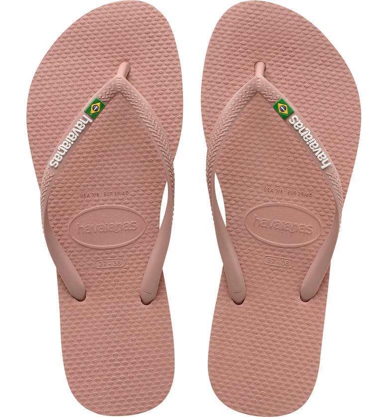 HAVAIANAS Slim Brazil Flip Flop, Main, color, CROCUS ROSE