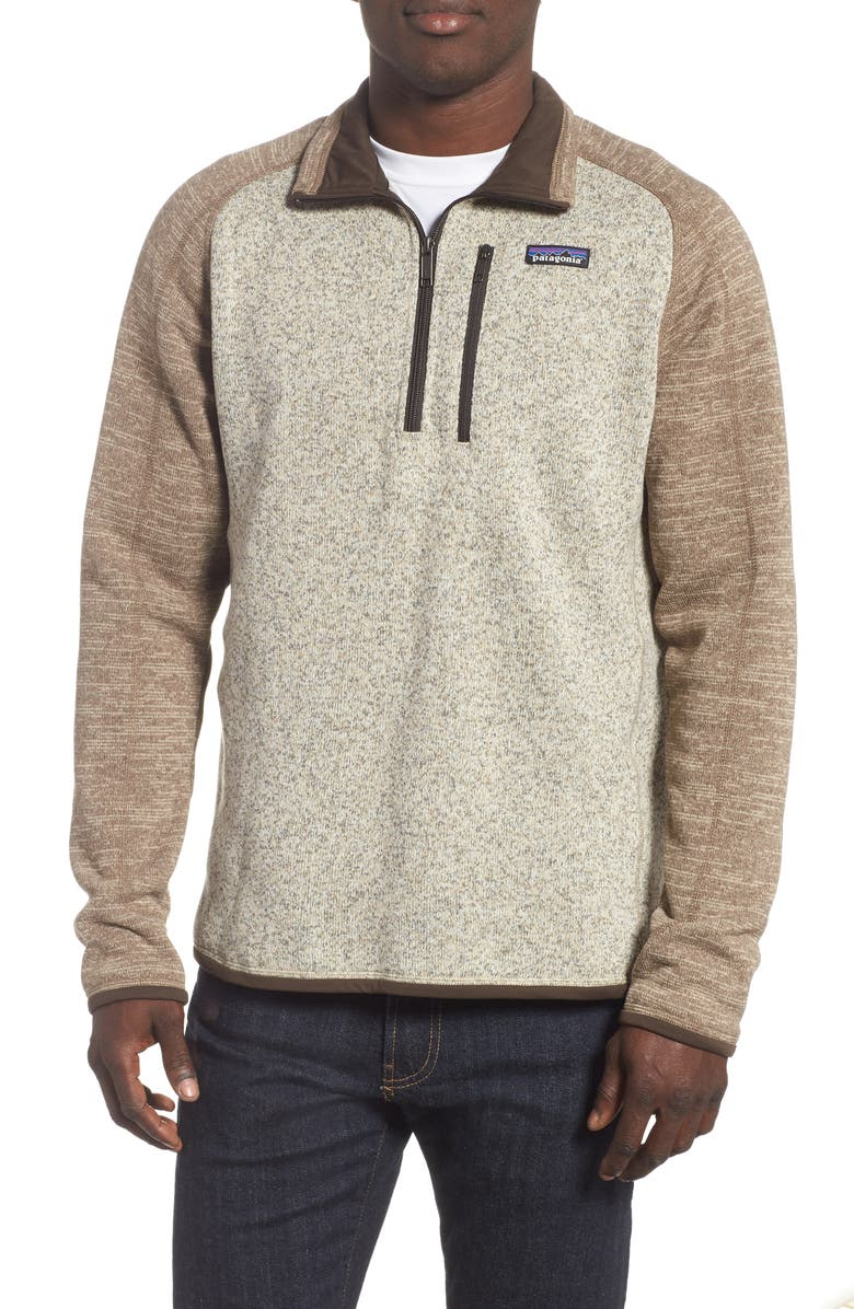 PATAGONIA Better Sweater Quarter Zip Fleece Lined Pullover, Main, color, BLEACHED STONE/ PALE KHAKI