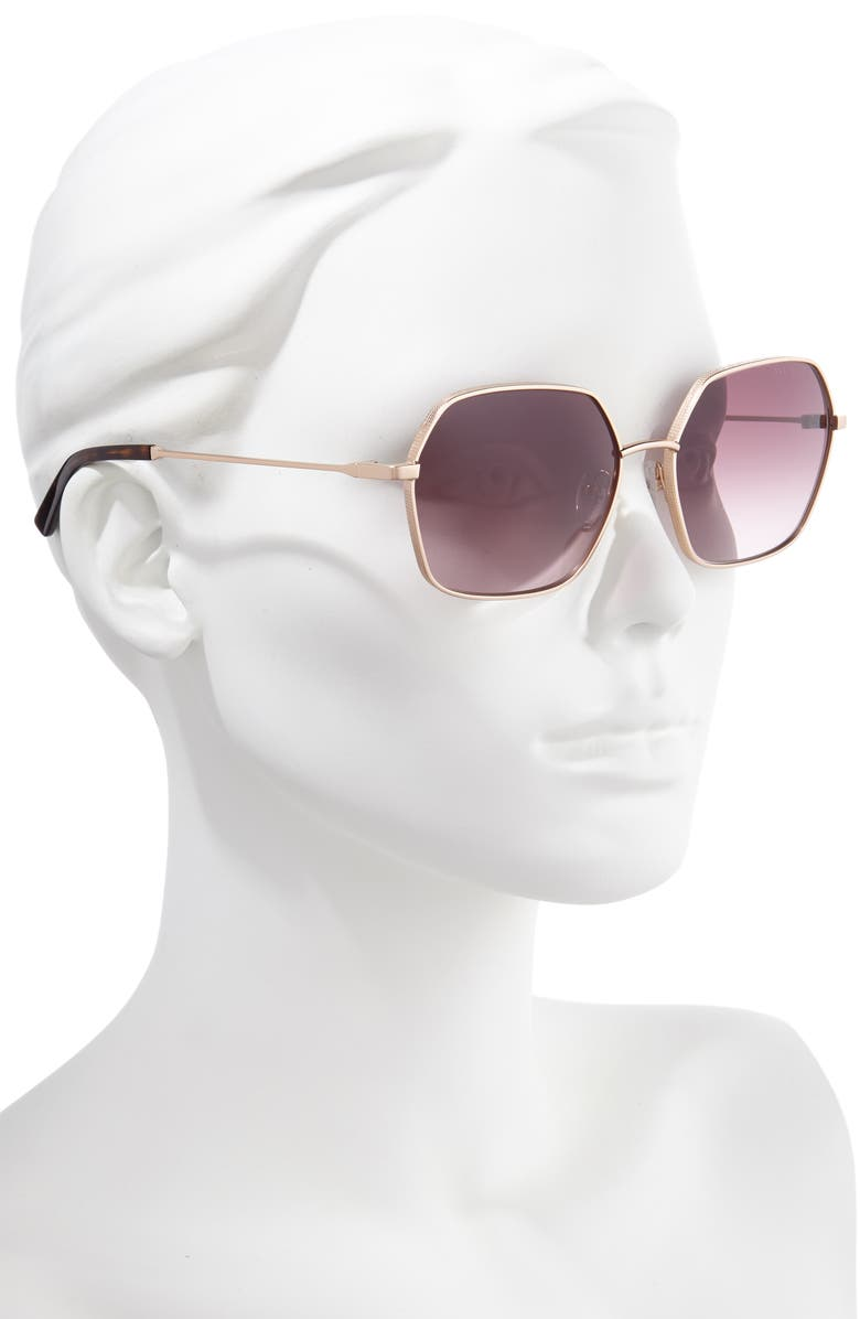 TED BAKER LONDON 58mm Gradient Square Sunglasses, Main, color, LIGHT GOLD/ BROWN