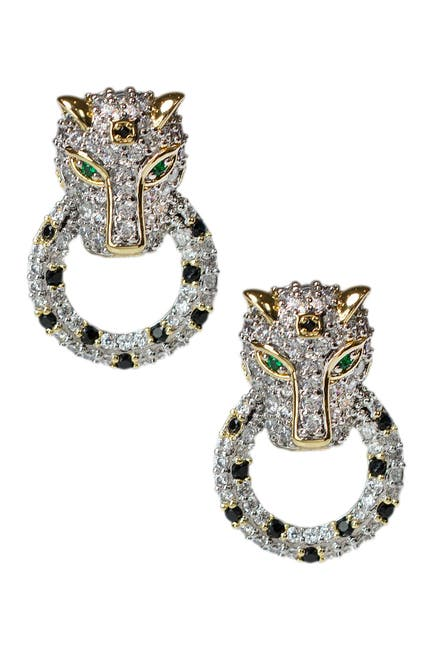 Image of CZ By Kenneth Jay Lane 14K Gold Plated Pave CZ Panther Doorknocker Stud Earrings
