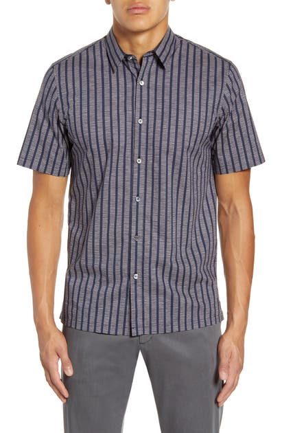 Theory Tops IRVING ADDER SLIM FIT PRINT SHORT SLEEVE BUTTON-UP SHIRT