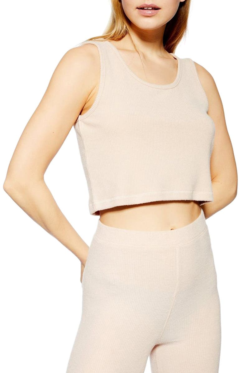 TOPSHOP Crop Rib Lounge Camisole, Main, color, 250