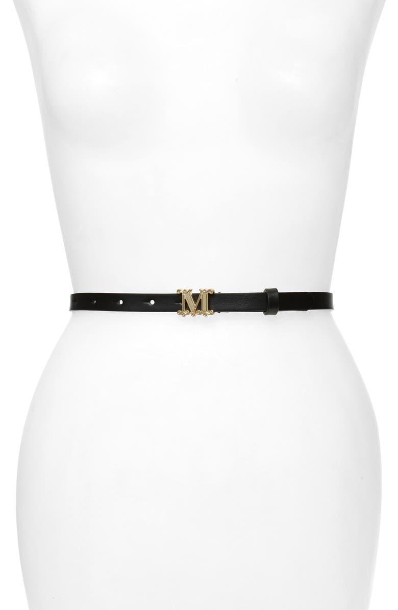 MAX MARA Verres Monogram Leather Belt, Main, color, BLACK