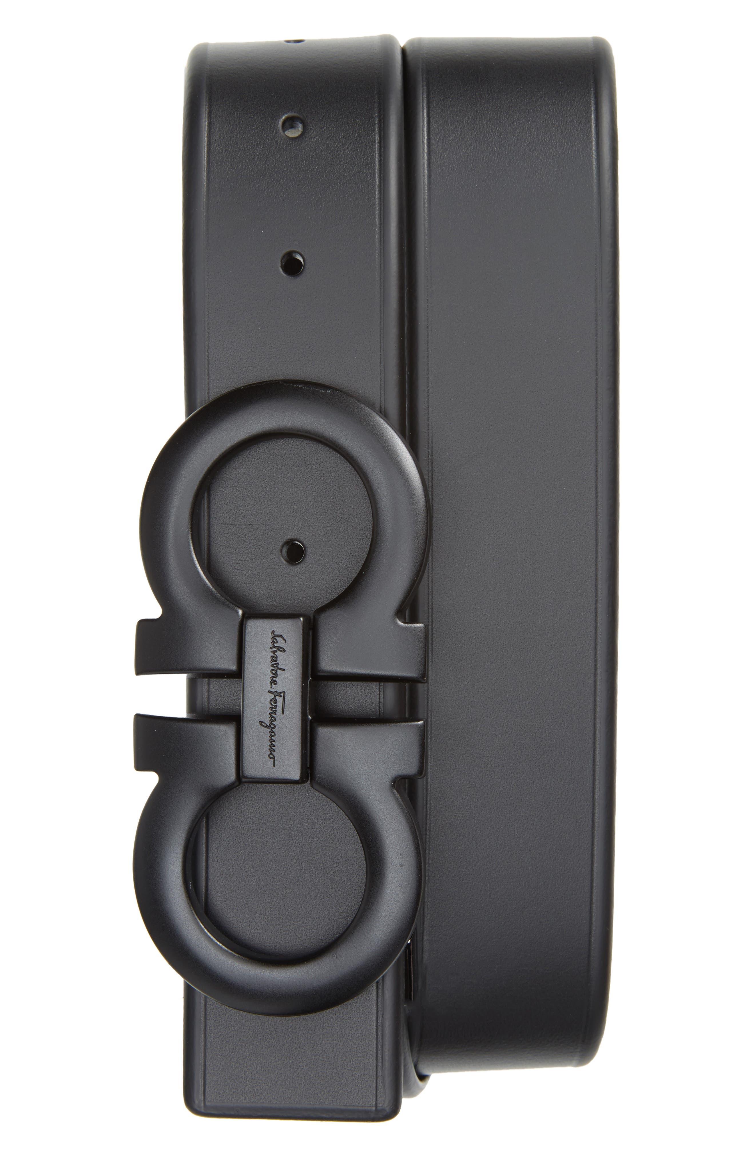 ,                             Double Gancio Leather Belt,                             Main thumbnail 1, color,                             BLACK
