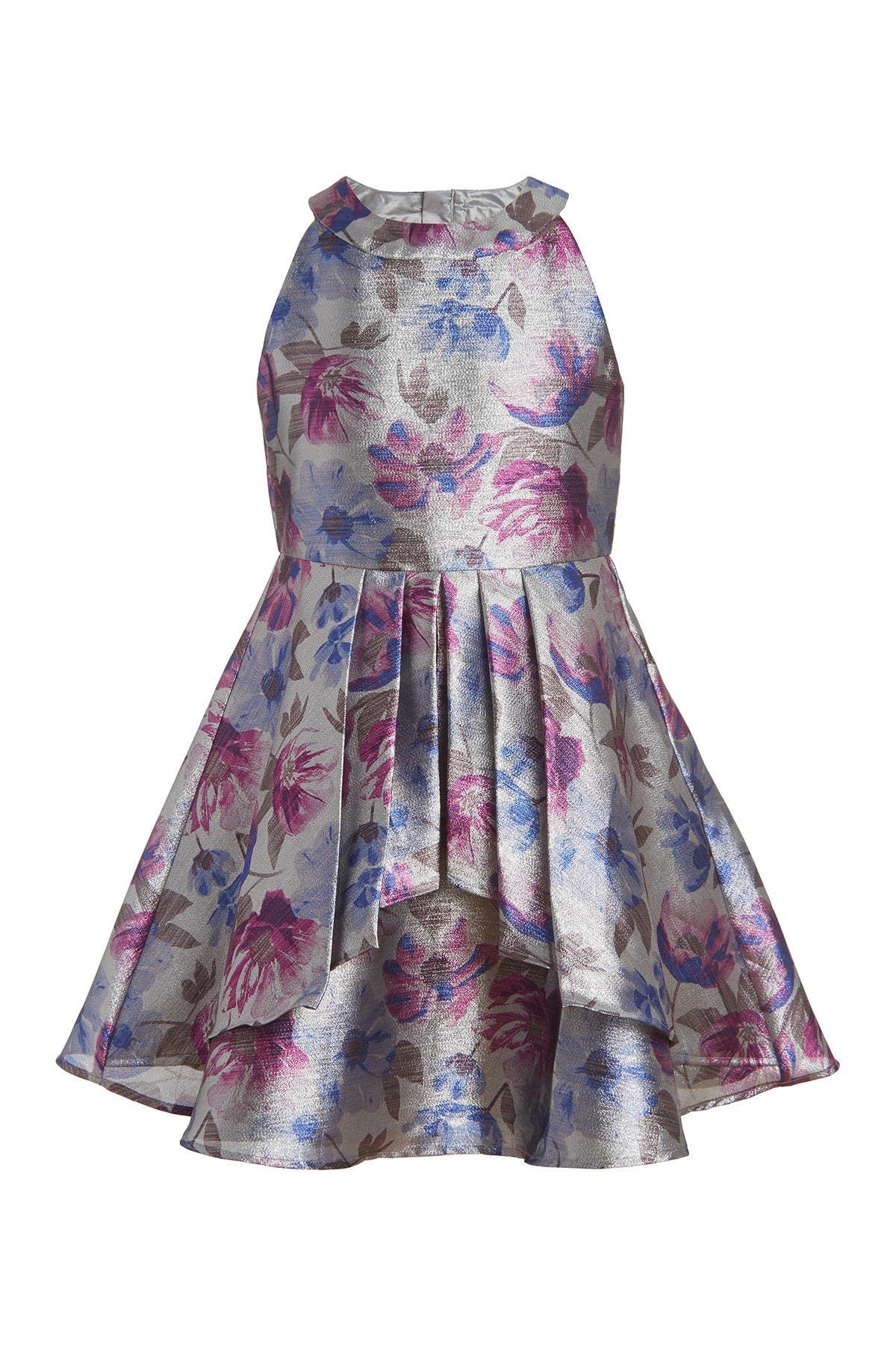 Image of Calvin Klein Floral Shine High-Neck Dress