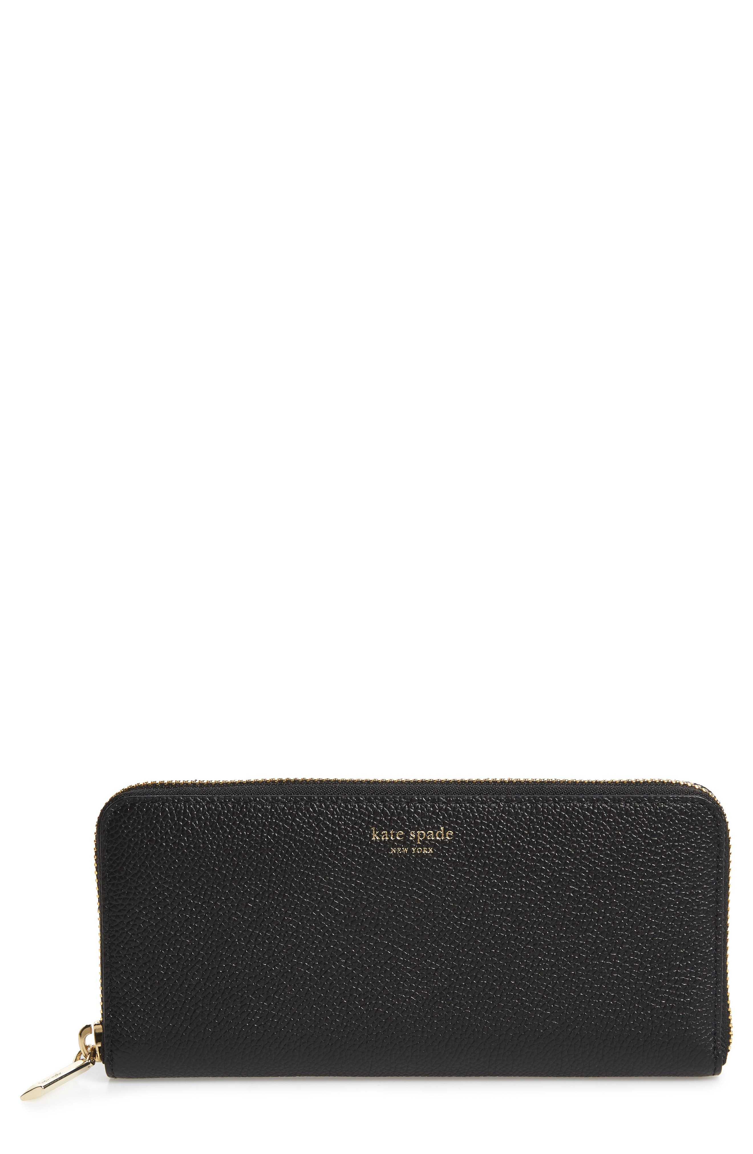 margaux leather continental wallet, Main, color, BLACK