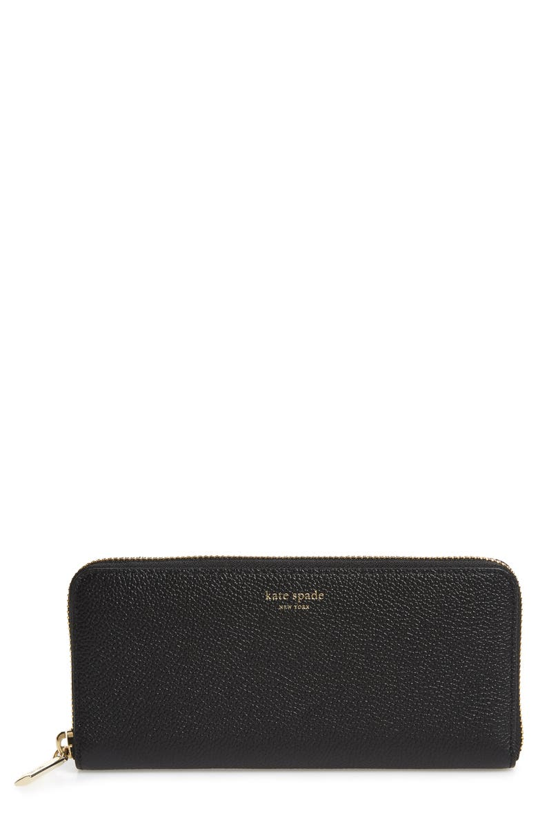 KATE SPADE NEW YORK margaux leather continental wallet, Main, color, BLACK
