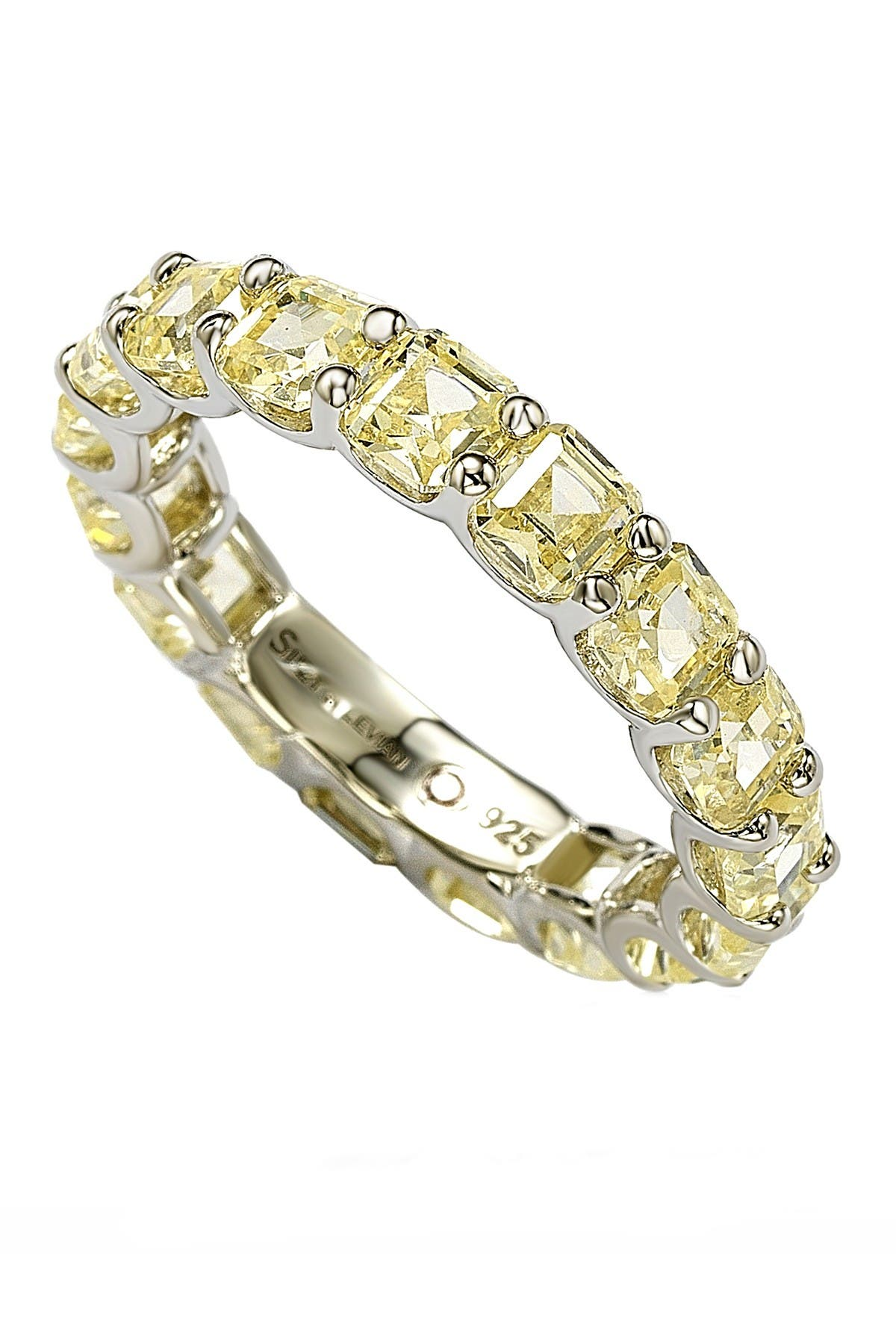 Image of Suzy Levian Sterling Silver Yellow CZ Modern Eternity Band Ring