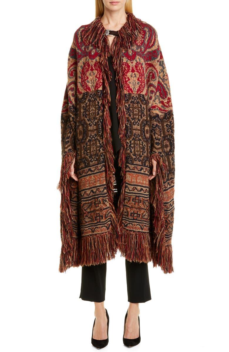 ETRO Fringe Wool & Alpaca Blend Jacquard Blanket Cape, Main, color, 230
