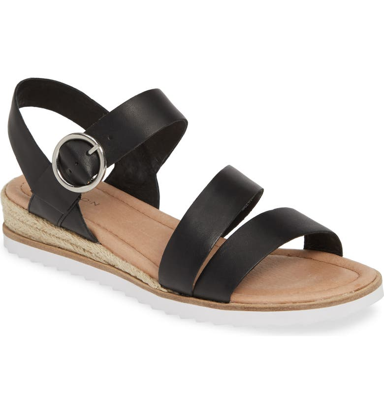 CASLON<SUP>®</SUP> Cameron Espadrille Wedge Sandal, Main, color, BLACK LEATHER