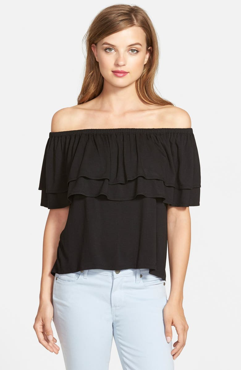 REBECCA MINKOFF 'Dev' Off the Shoulder Top, Main, color, 001