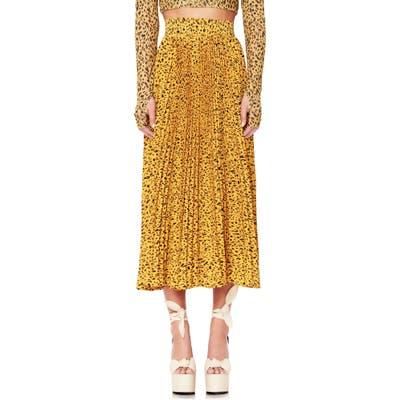Afrm Dilan Pleated Midi Skirt, Yellow