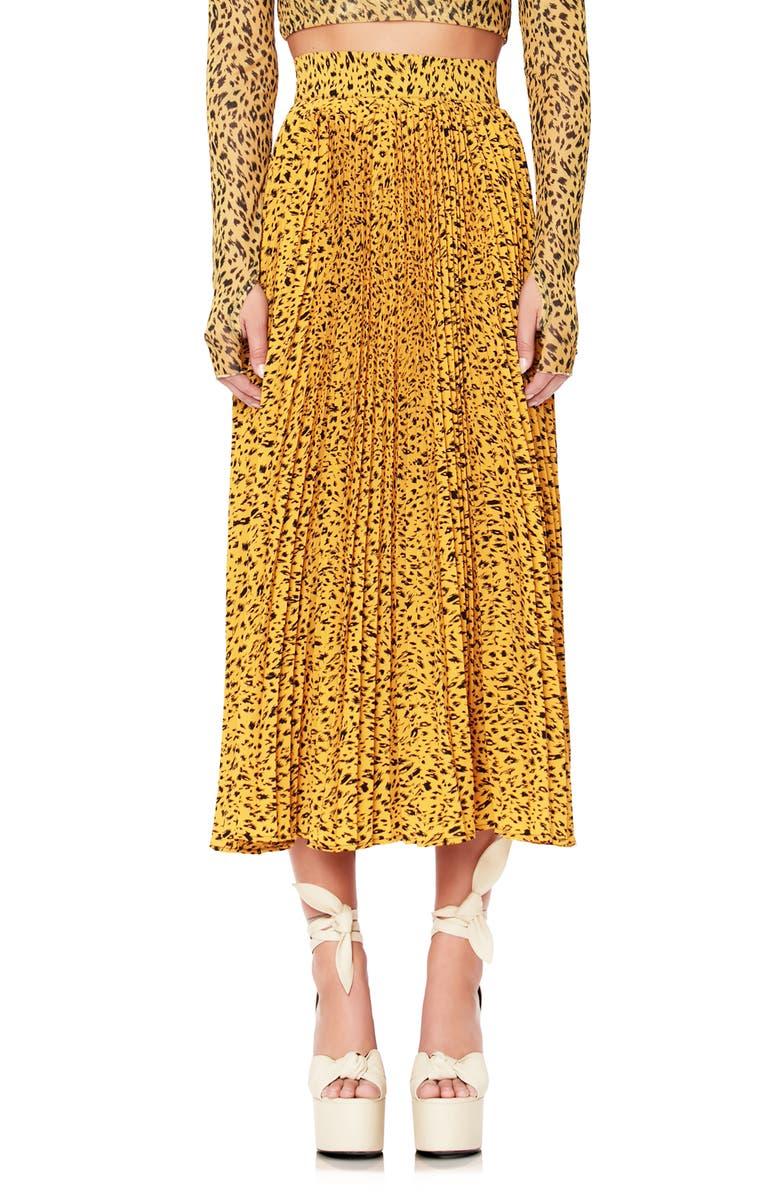 AFRM Dilan Pleated Midi Skirt, Main, color, GOLD LEOPARD713