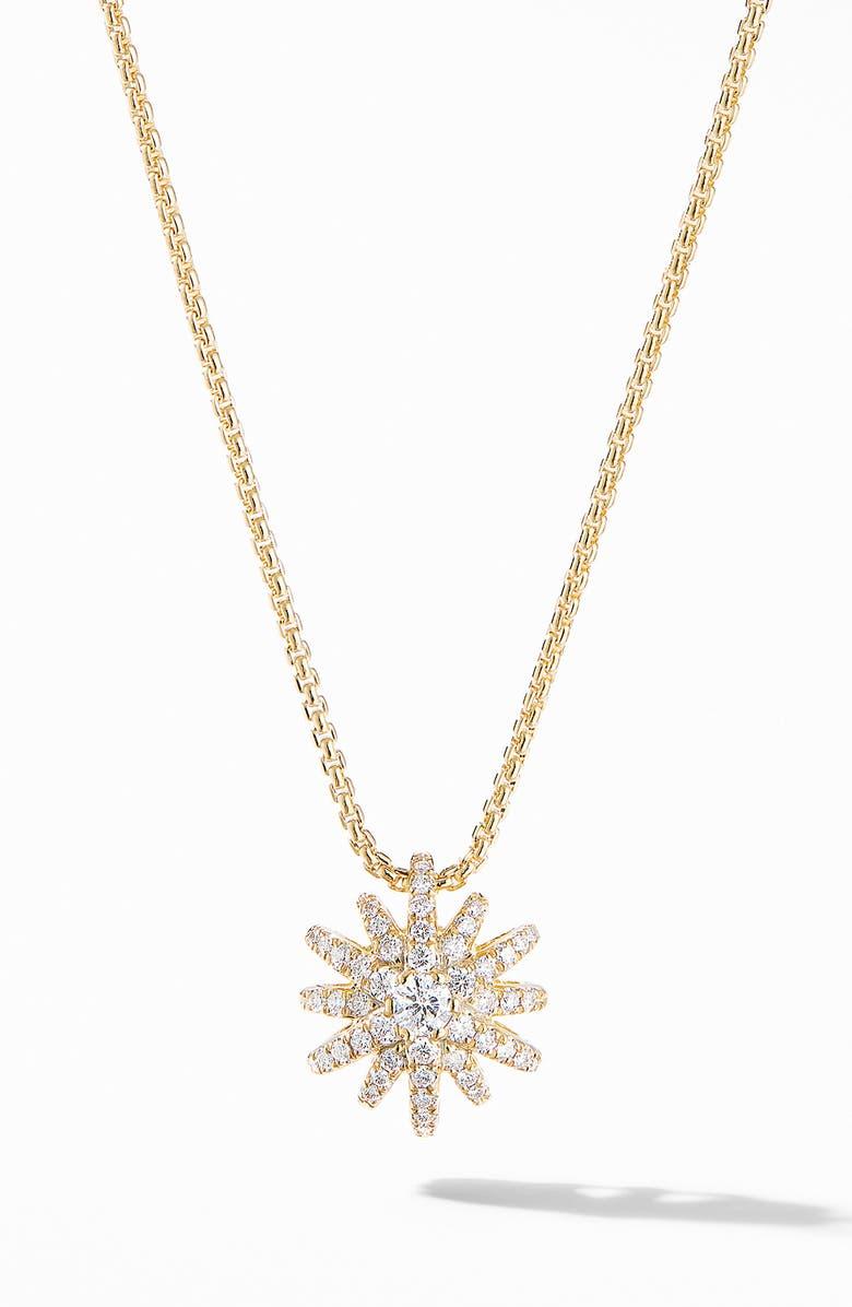DAVID YURMAN Starbust Pendant Necklace in 18K Yellow Gold with Pavé Diamonds, Main, color, DIAMOND