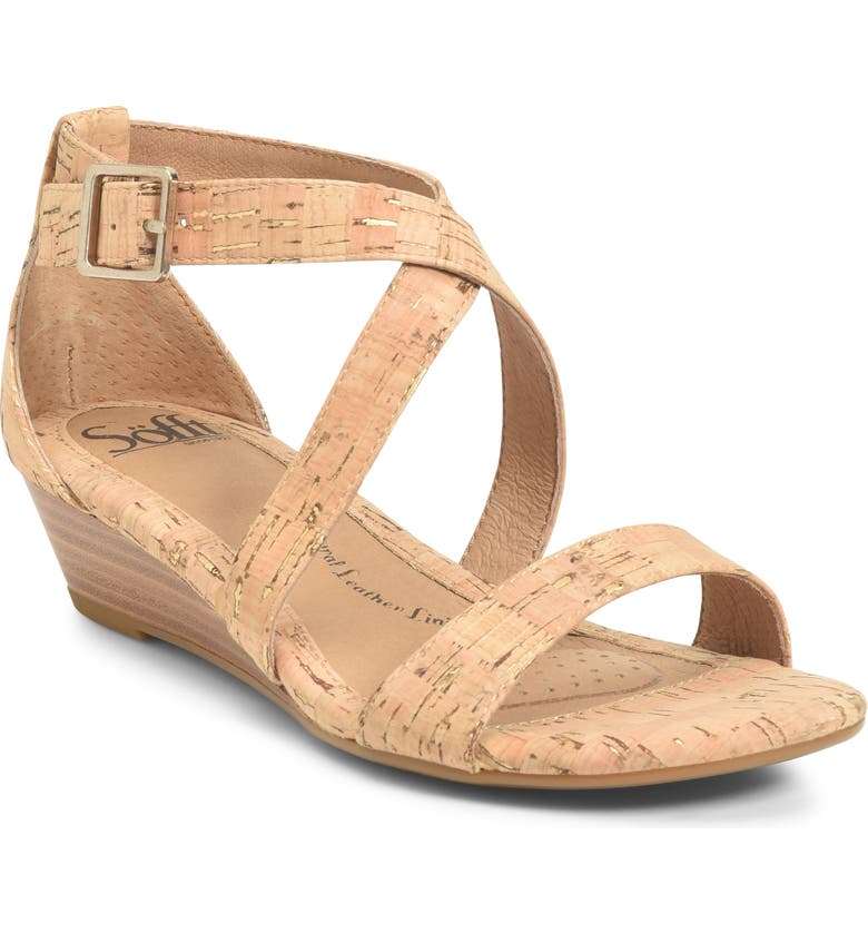SÖFFT 'Innis' Low Wedge Sandal, Main, color, GOLD/ NATURAL CORK
