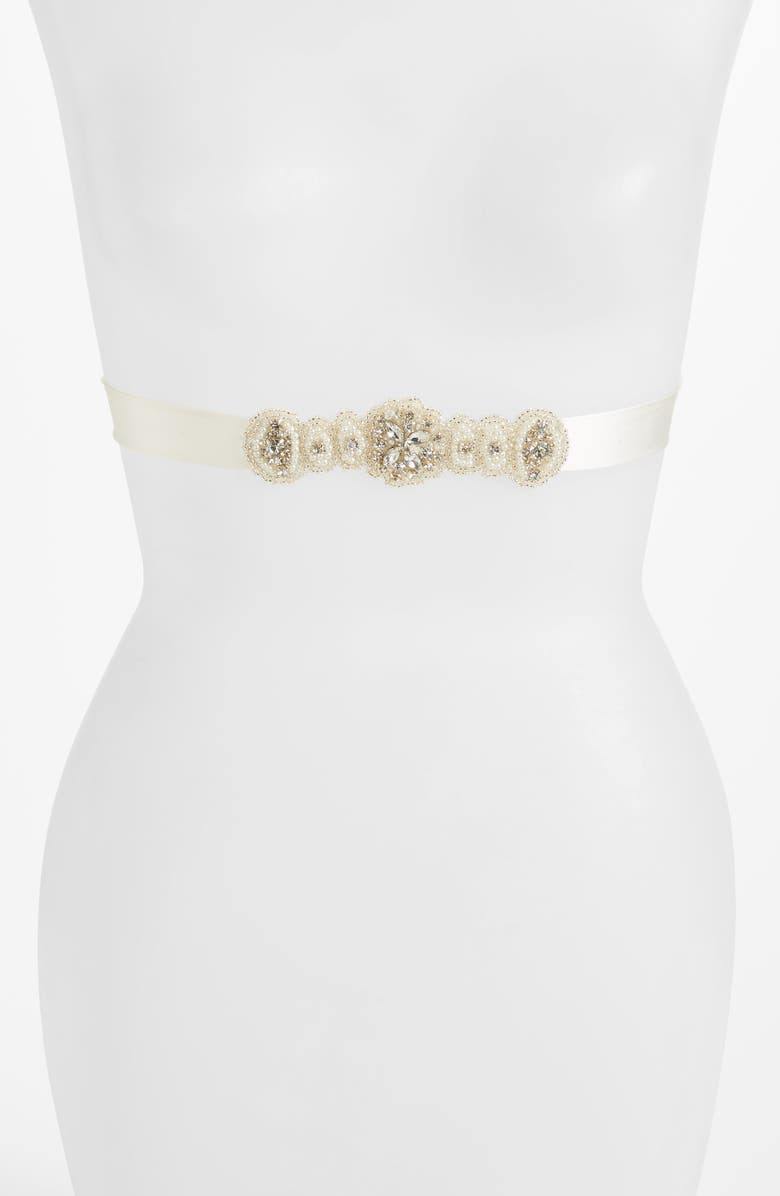 TIFFANY ROSE Aurelia Crystal Silk Sash, Main, color, IVORY