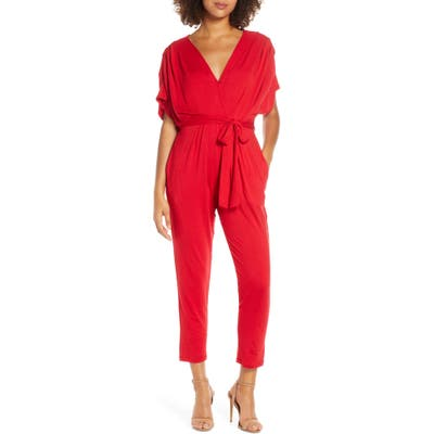 Fraiche By J Open Back Jumpsuit, Red