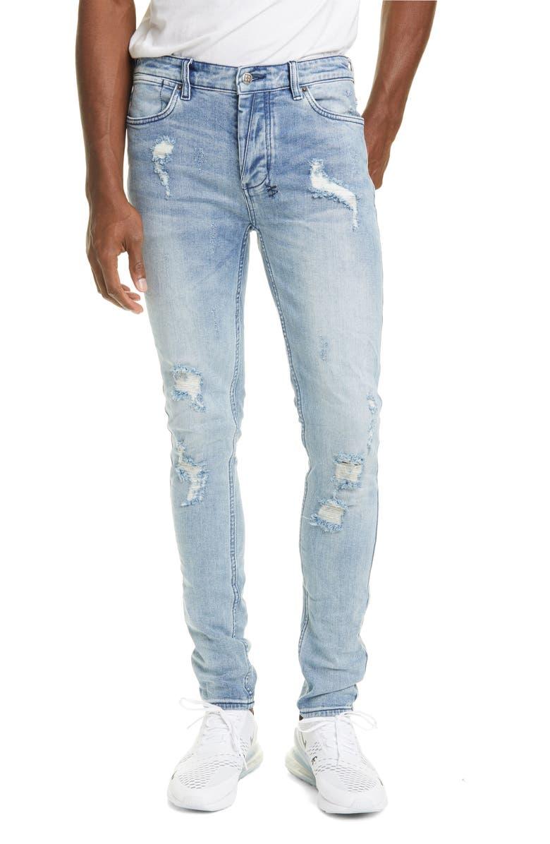 KSUBI Van Winkle Krow Trashed Skinny Jeans, Main, color, DENIM