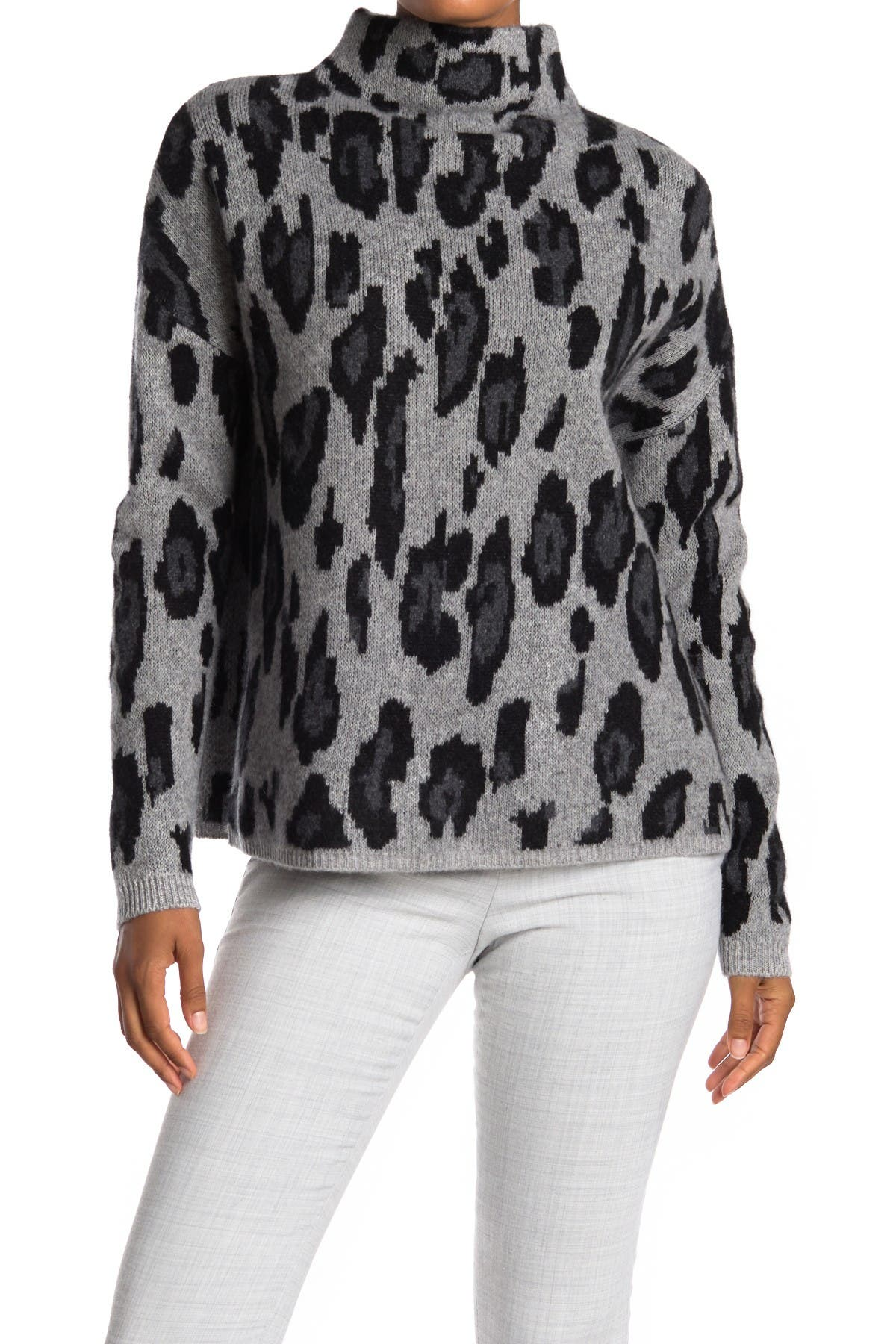 Image of Catherine Catherine Malandrino Leopard Print Mock Neck Cashmere Sweater