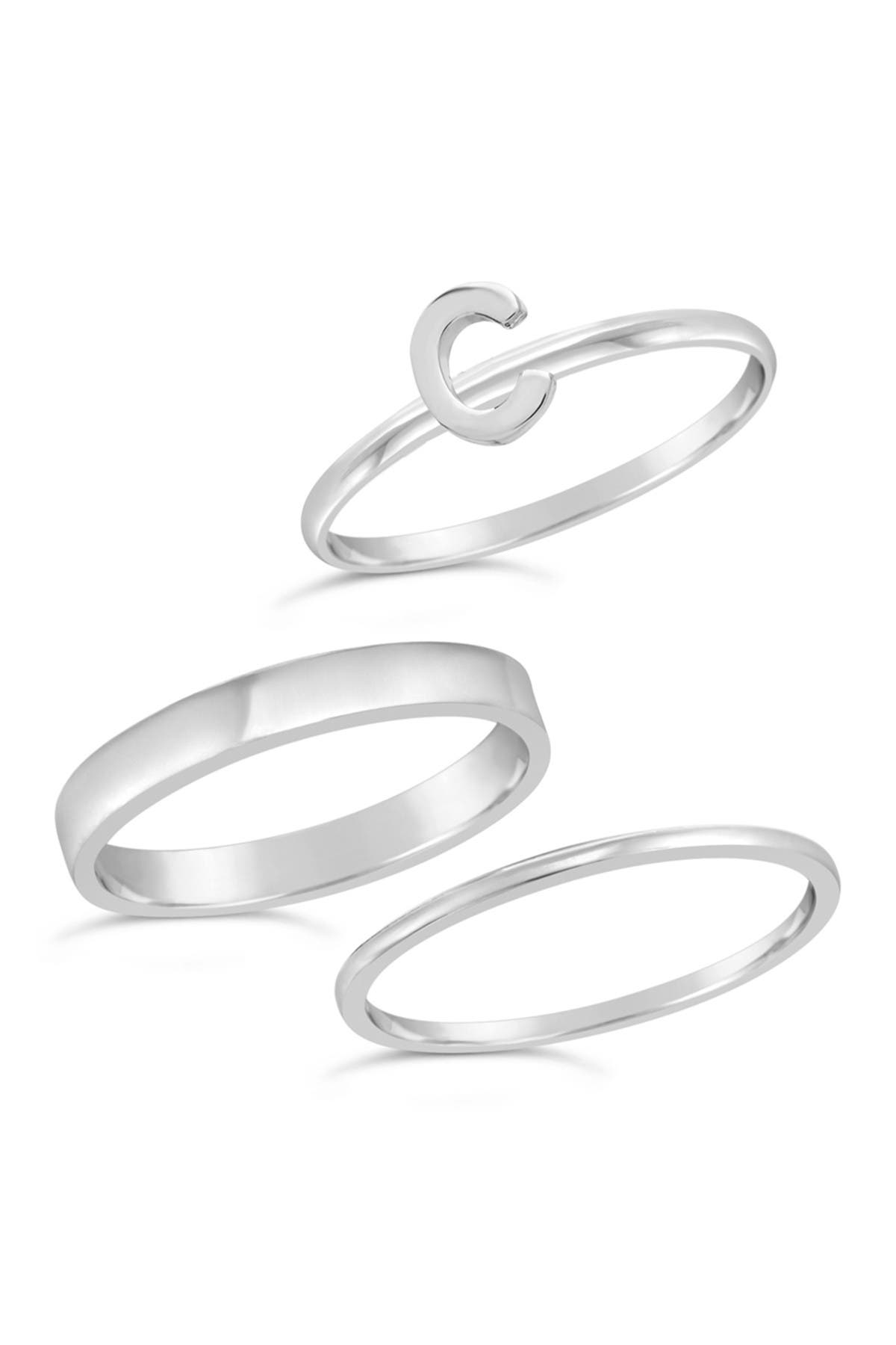 Image of Sterling Forever Sterling Silver Initial Ring - Set of 3 - C