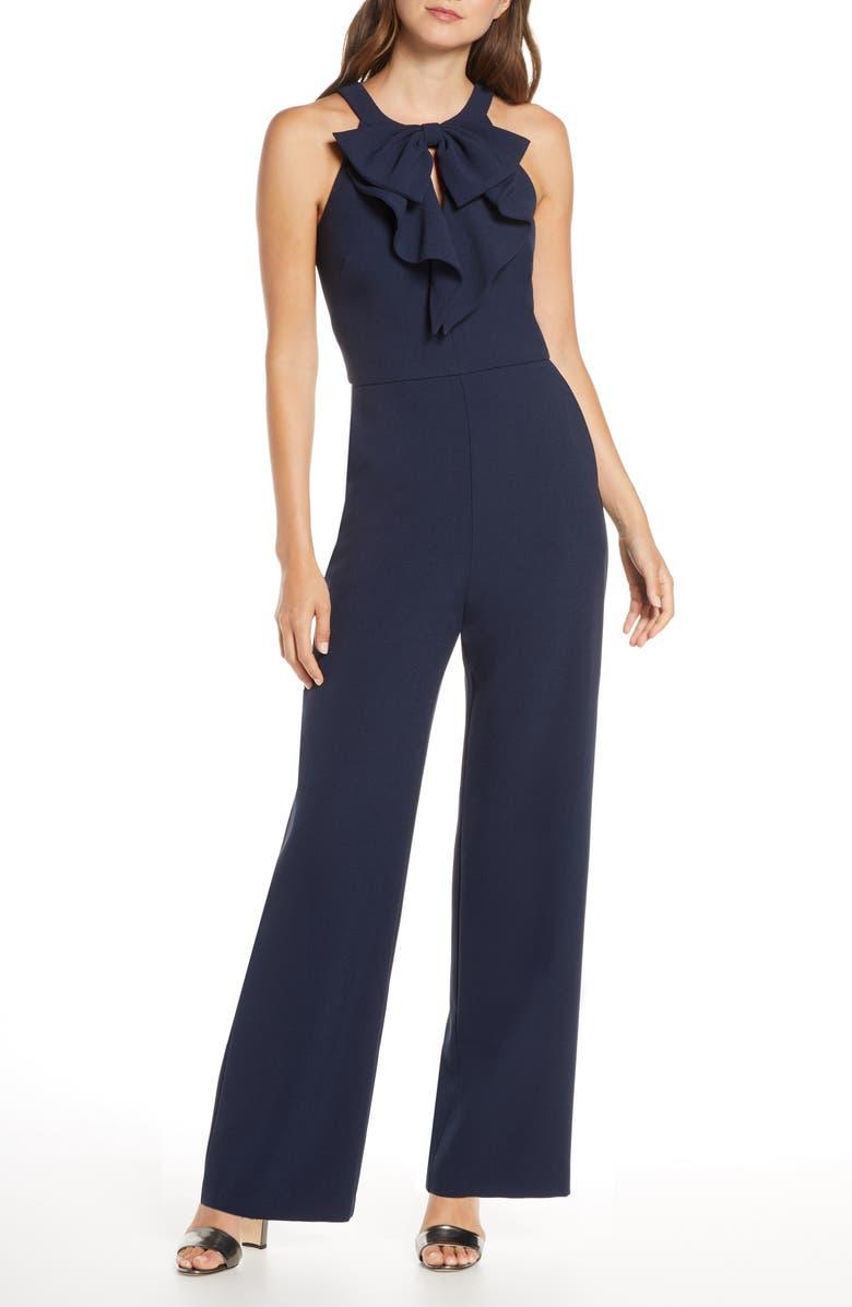 ELIZA J Ruffle Bow Jumpsuit, Main, color, 410