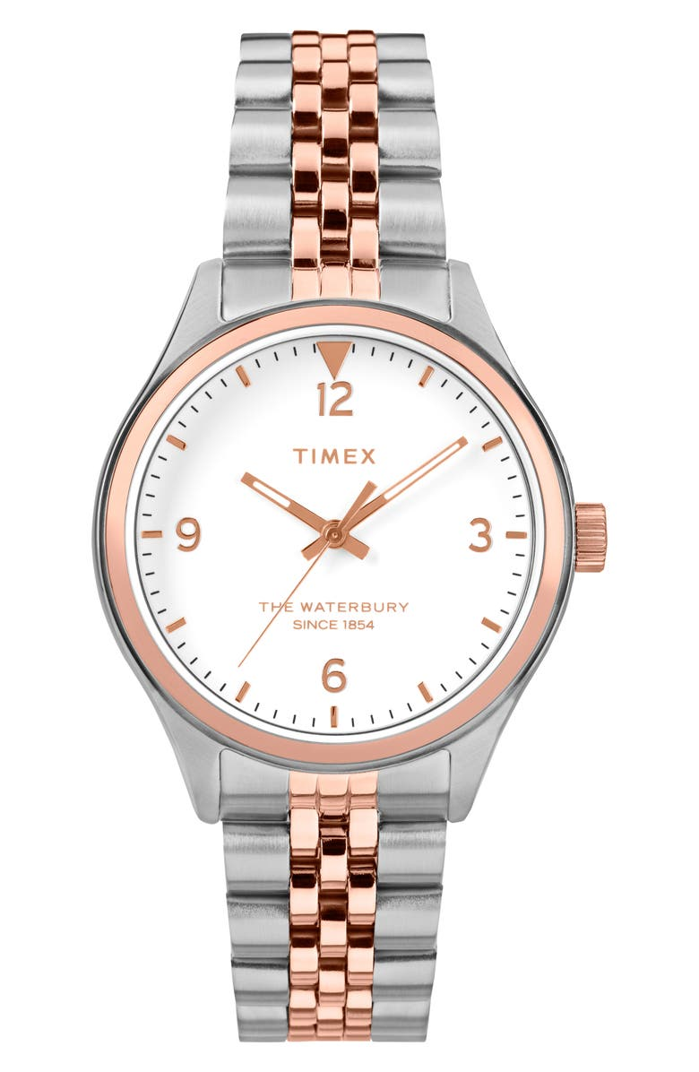 TIMEX<SUP>®</SUP> Waterbury Bracelet Watch, 34mm, Main, color, SILVER/ CREAM/ ROSE GOLD