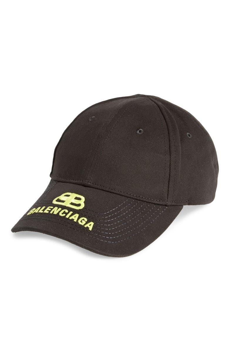 BALENCIAGA Logo Baseball Cap, Main, color, BLACK/ ECRU