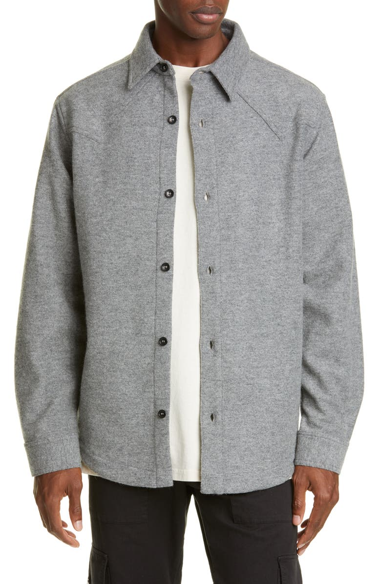 BILLY LOS ANGELES Oversize Button-Up Wool Blend Western Shirt, Main, color, HEATHER GREY