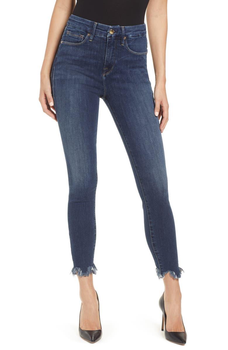 GOOD AMERICAN Good Waist High Waist Chewed Hem Skinny Jeans, Main, color, BLUE233