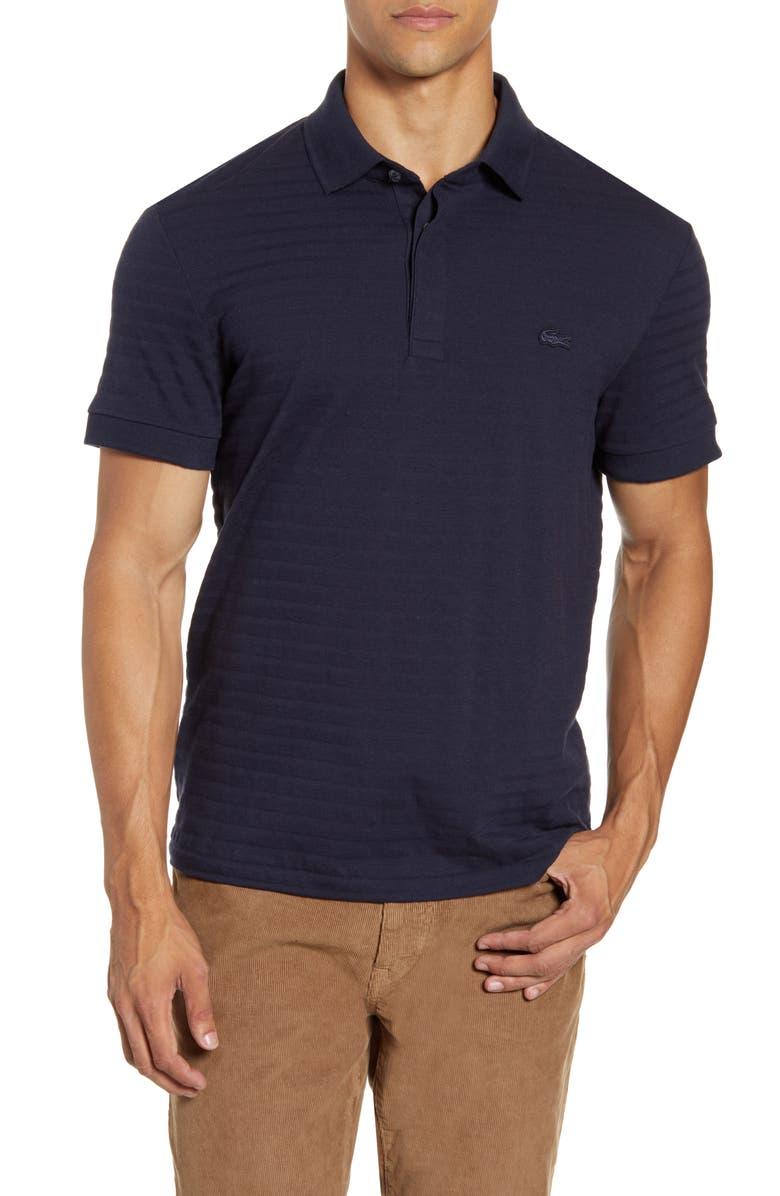 LACOSTE Solid Cotton & Cashmere Polo, Main, color, DARK NAVY BLUE