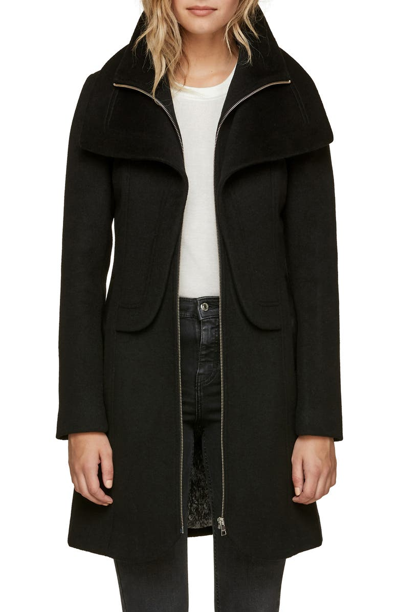 SOIA & KYO Slim Fit Wool Blend Coat, Main, color, BLACK