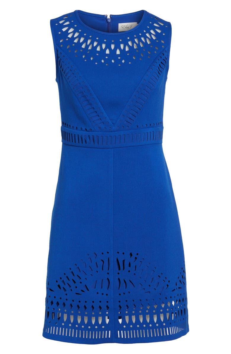 ELIZA J Laser Cut Crepe Sheath Dress, Main, color, 430