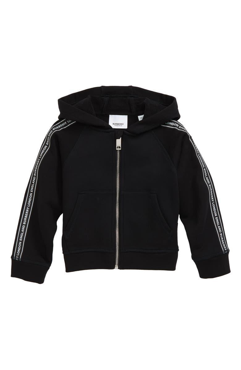 BURBERRY Corwyn Logo Stripe Full Zip Hoodie, Main, color, BLACK