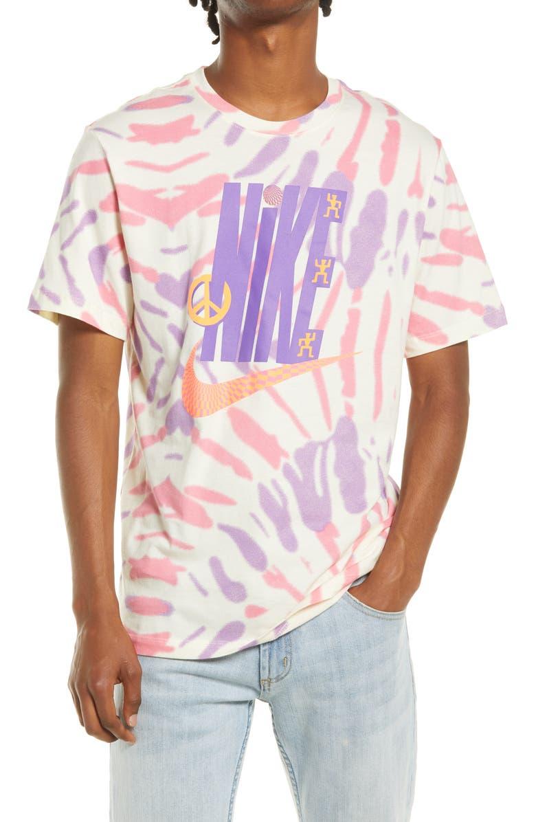 NIKE Sportswear Festival Tie Dye Graphic Tee, Main, color, COCONUT MILK/ SUNSET PULSE