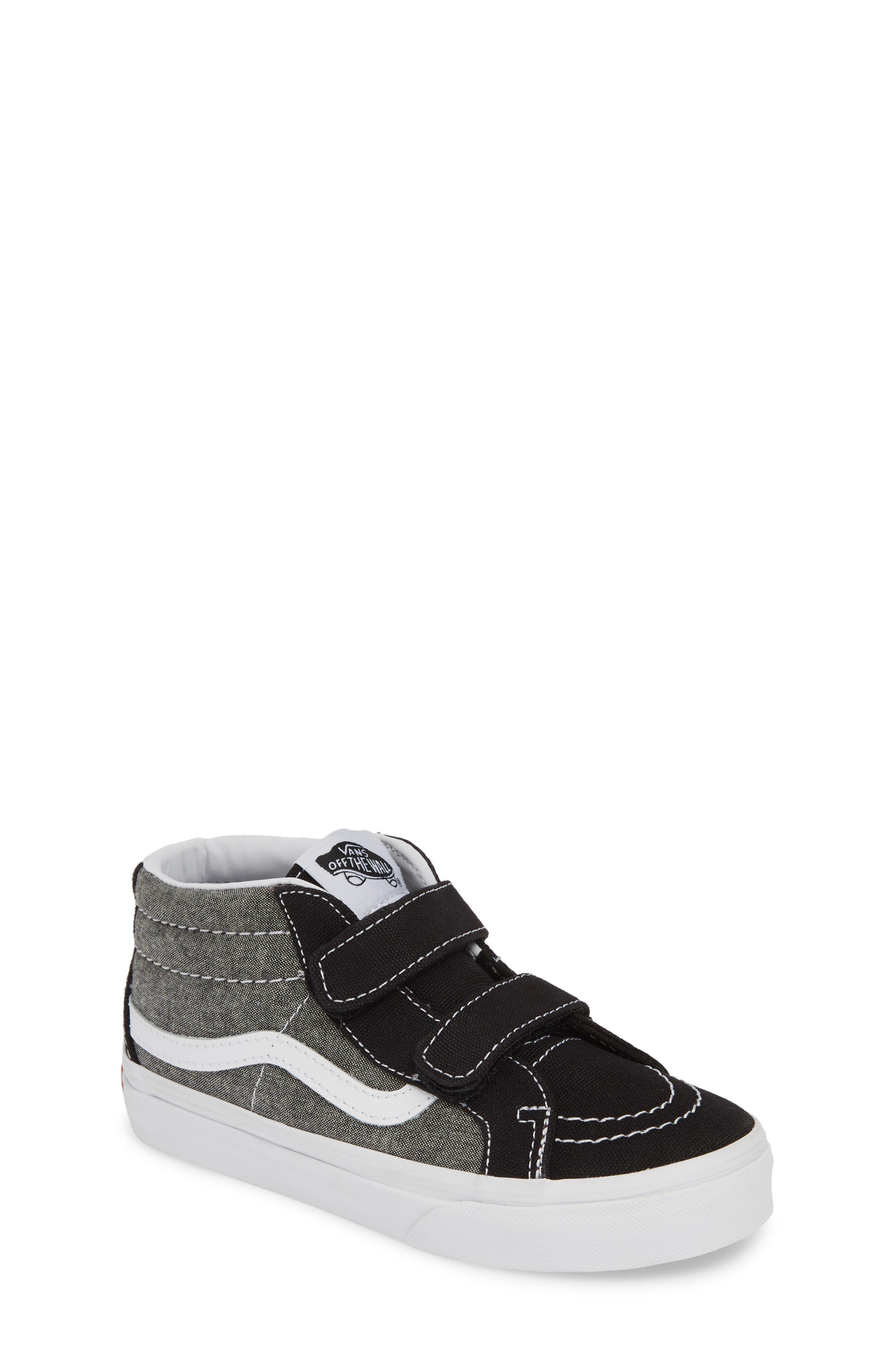 Sk8-Mid Reissue V Sneaker, Main, color, CANVAS BLACK/ TRUE WHITE