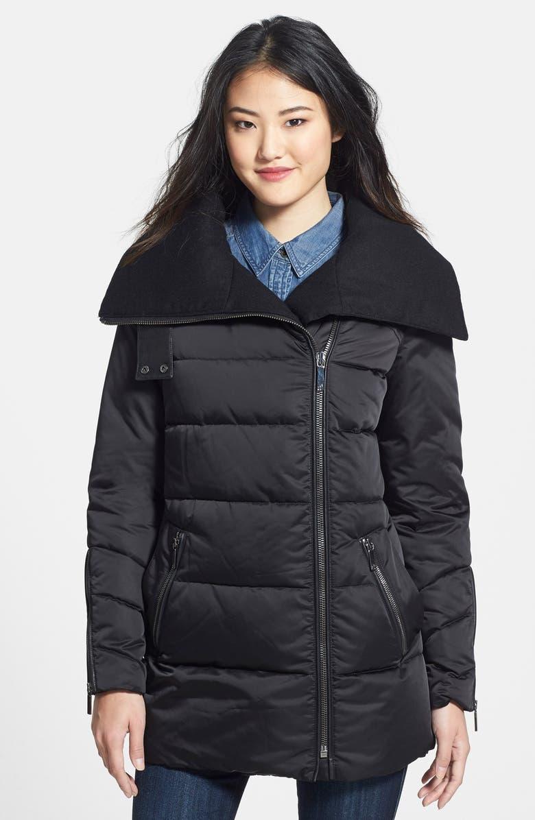 AB Oversize Collar Asymmetrical Down Coat, Main, color, 001