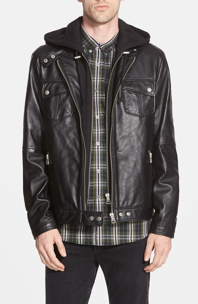 6d93a6188 'Los Angeles' Trim Fit Leather Moto Jacket with Inset Hood