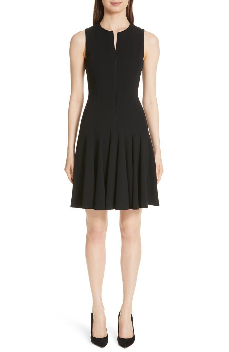 AKRIS Godet Pleat Sleeveless Dress, Main, color, BLACK