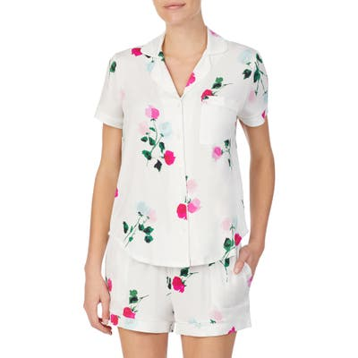 Kate Spade New York Floral Jersey Short Pajamas, Ivory