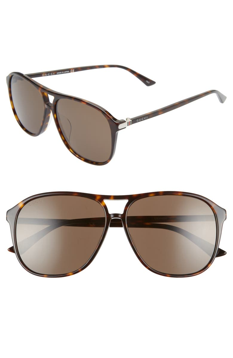 GUCCI Caravan 59mm Aviator Sunglasses, Main, color, 212