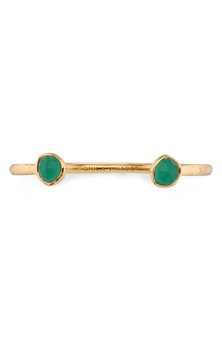MONICA VINADER Siren Green Onyx Thin Cuff Bracelet, Main, color, YELLOW GOLD/ ONYX