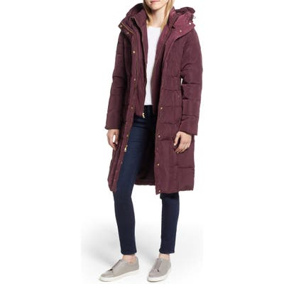 Petite Cole Haan Bib Insert Down & Feather Fill Coat, Burgundy