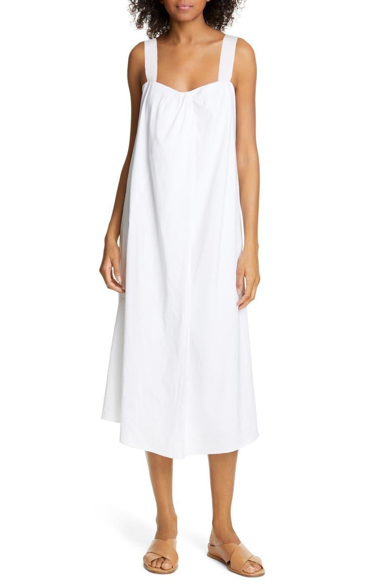 VINCE Drape Neck Sundress, Main, color, OPTIC WHITE