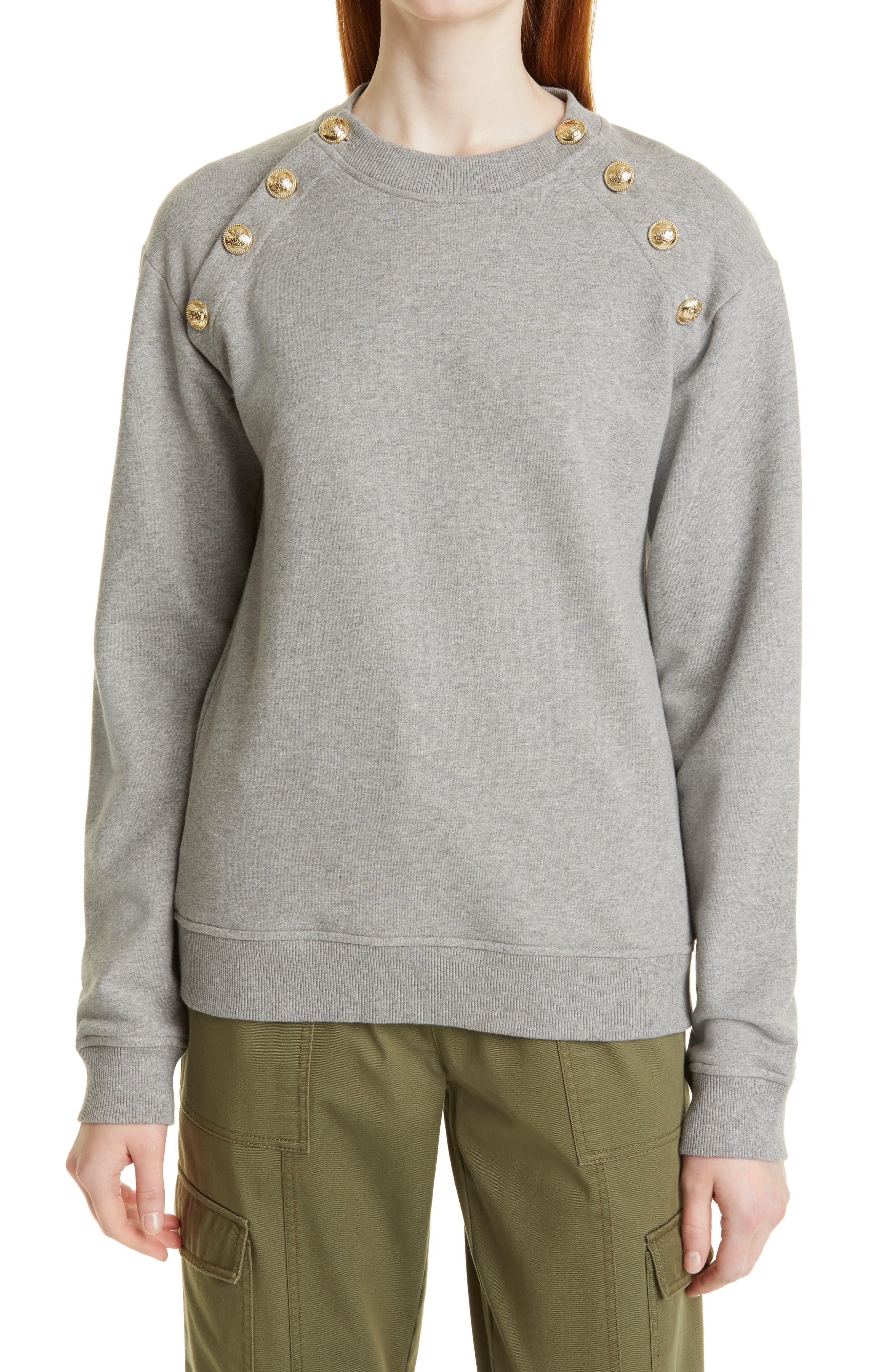 Sailor Button Cotton Sweatshirt