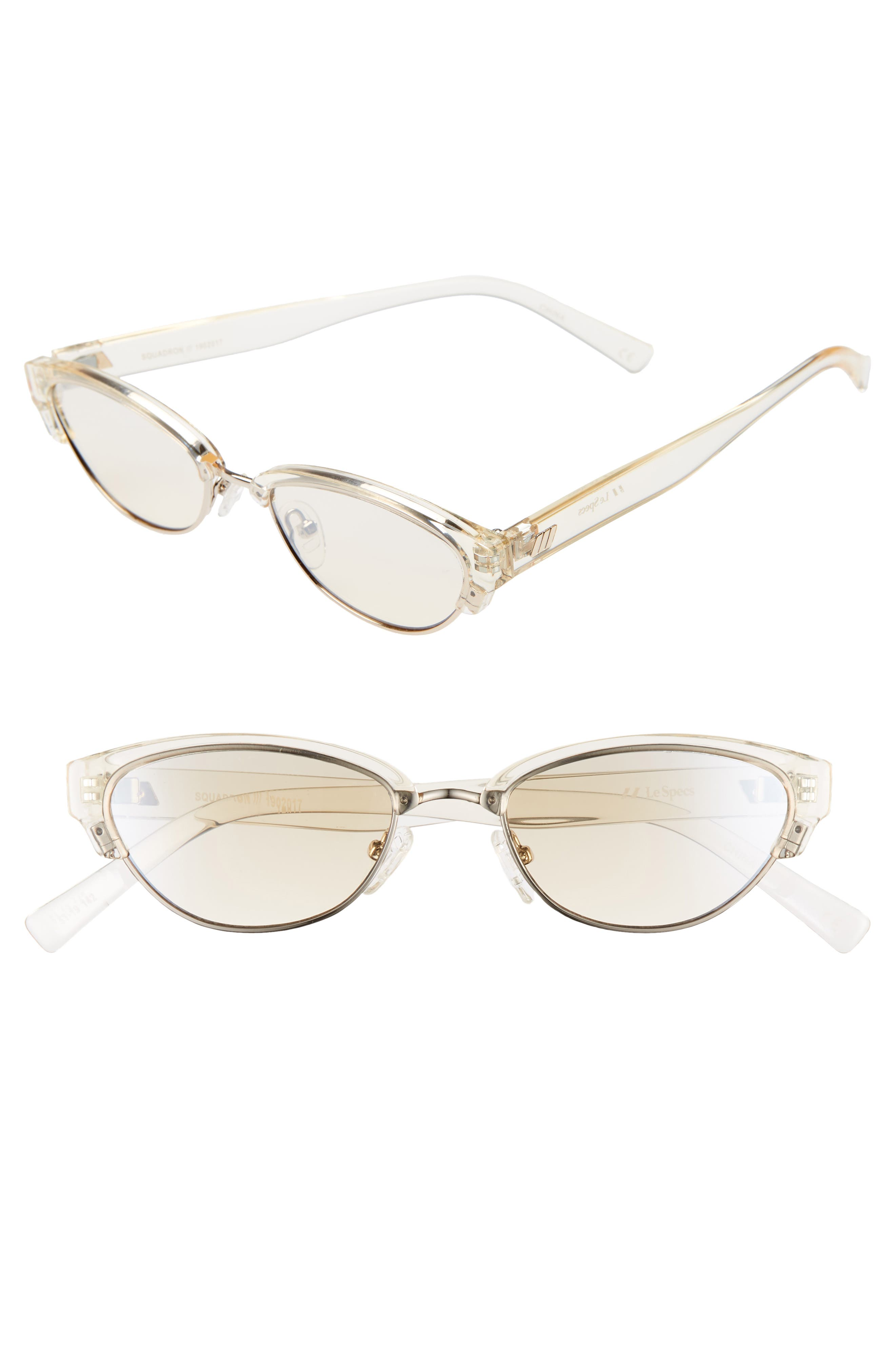 Le Specs Squadron 51Mm Brow Bar Sunglasses - Transparent Yuzu/ Champagne