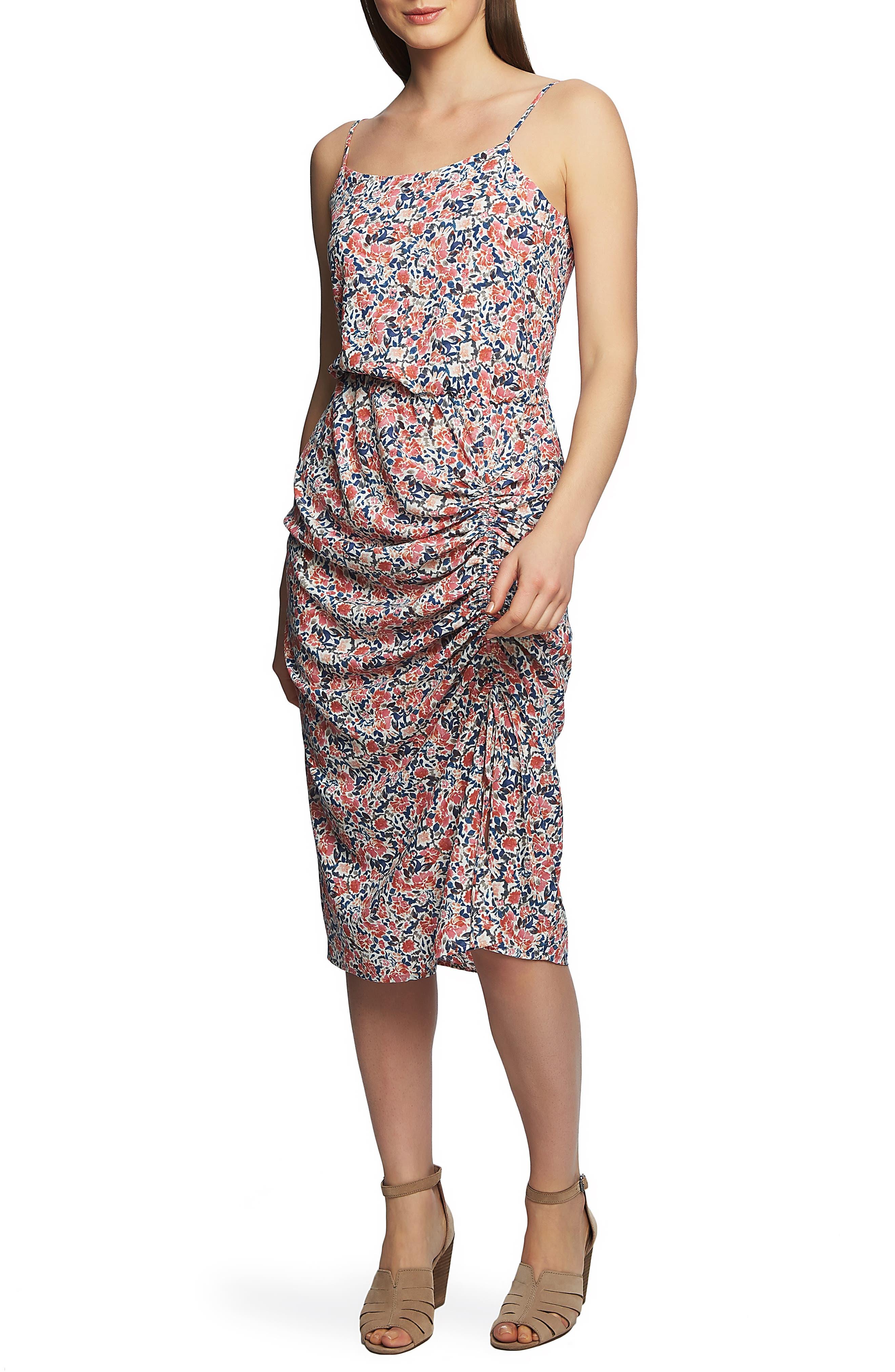 1.state Sunwashed Floral Midi Dress, Pink