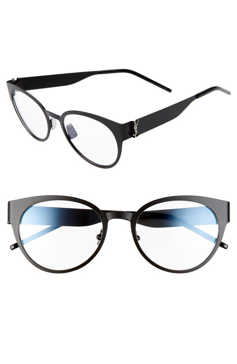 SAINT LAURENT 52mm Round Optical Glasses, Main, color, 001