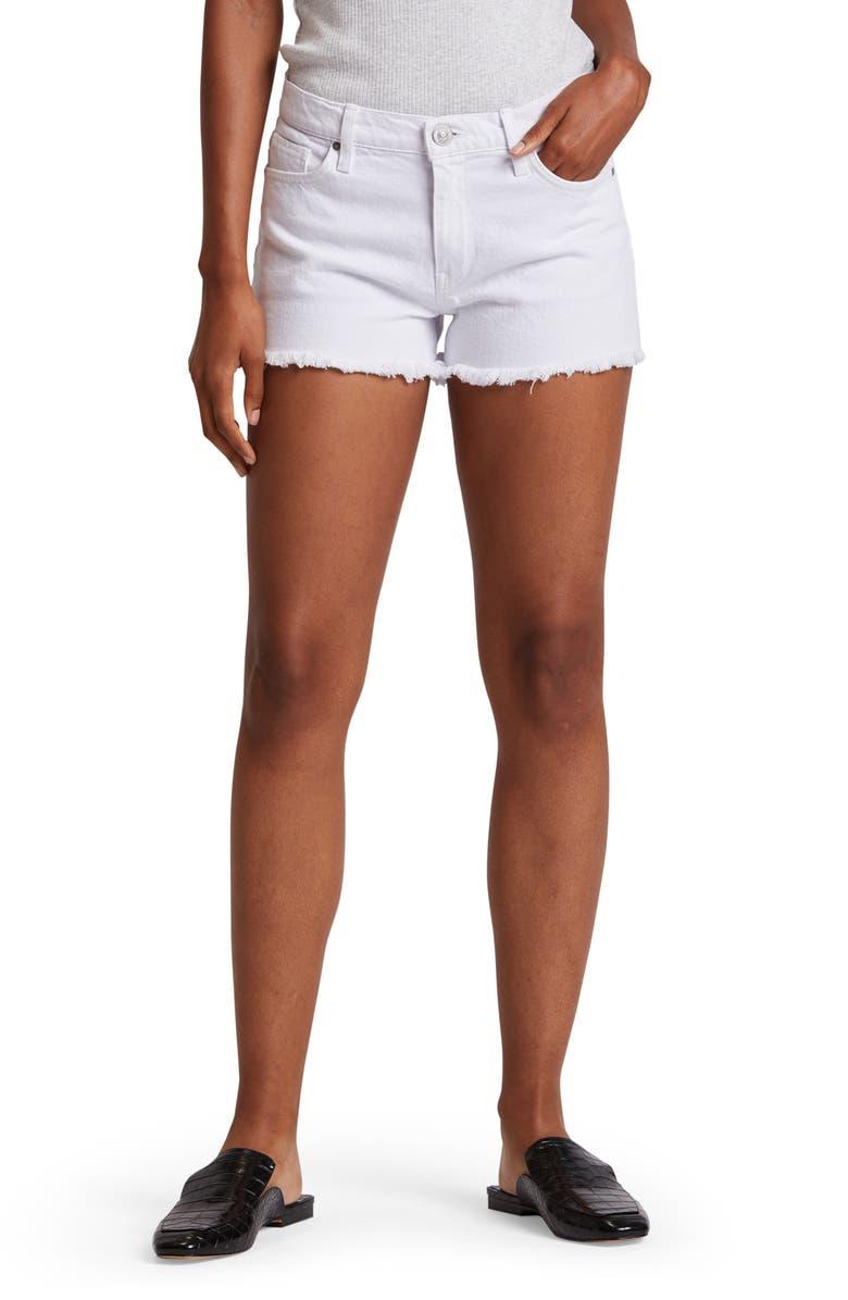 HUDSON JEANS Gemma High Waist Cutoff Denim Shorts, Main, color, WHITE